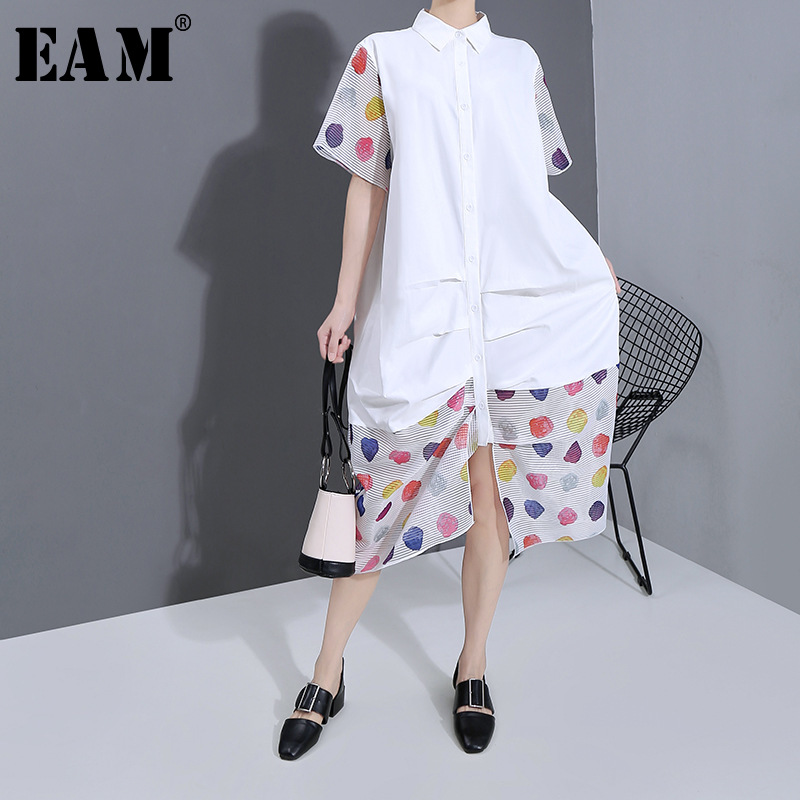 [EAM] Women White Striped Perspective Big Size Shirt Dress New Lapel Short Sleeve Loose Fit Fashion Spring Summer 2020 1T944