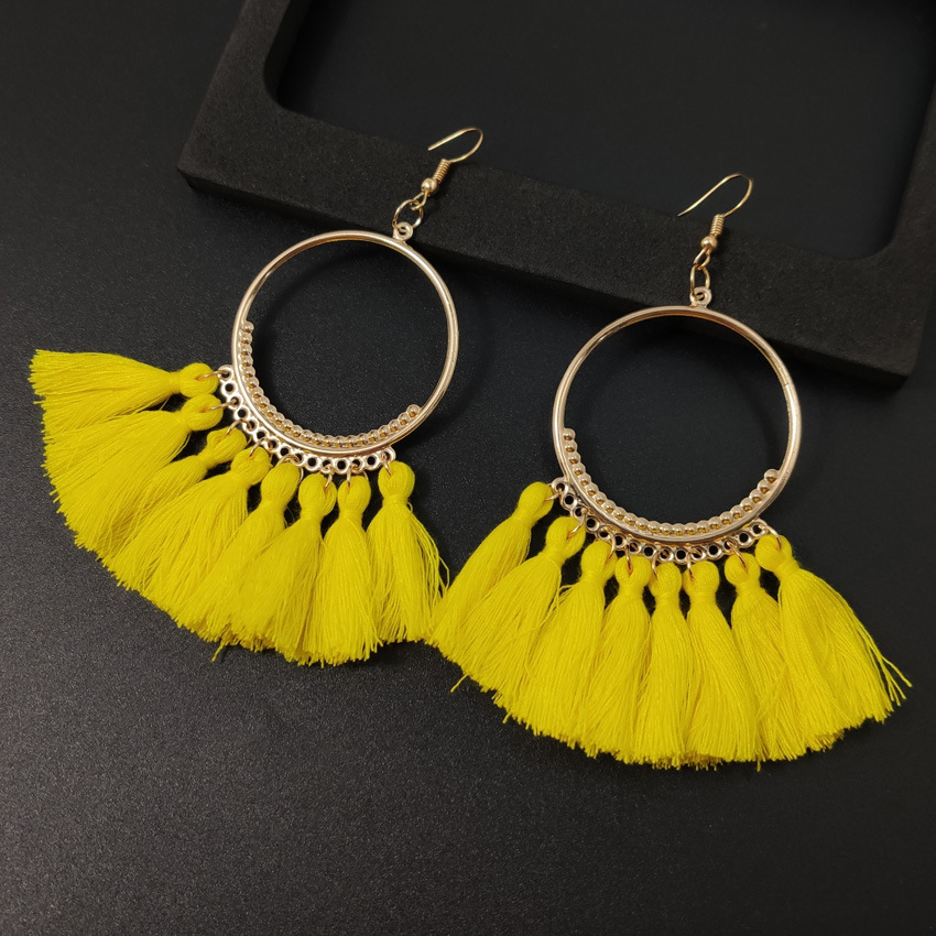 Women's earrings European and American explosions silk tassel earrings Bohemian big circle geometric earrings ladies jewelry 2