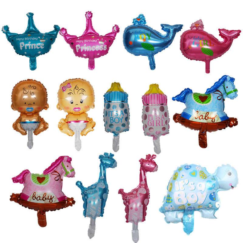 1 pçs/lote MINI Bebê Menino/Menina Balão Da Folha Balão Do Chuveiro Do Bebê Decoração Do Partido Do Bebê Do Aniversário Do Bebê Do Miúdo 1 Ano fontes do aniversário