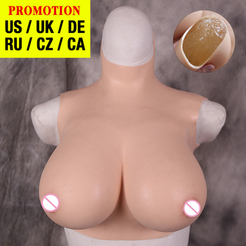 Dokier Solid Silicone filled crossdressing breast forms huge fake boobs chest for crossdresser drag queen shemale transgender teardrop shape 600g pair b cup fake silicone breast forms fake boobs tit bust chest with straps for men crossdresser drag queen