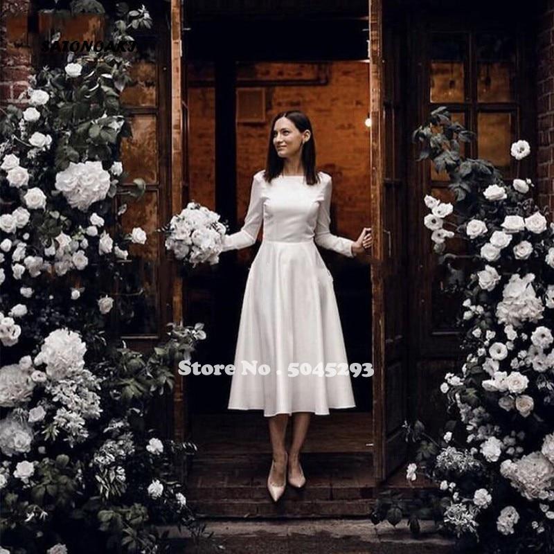 Simple Vintage Short Wedding Dress Long Sleeves Jewel Neck Button Back A Line Tea Length Bridal Gowns Robe De Mariee Online Shop