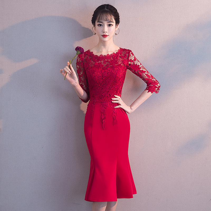 2019 Dress For Toast Bride Autumn & Winter Marriage New Style Red Lace Mid-length Fishtail Huimen Engagement Formal Dress Women'