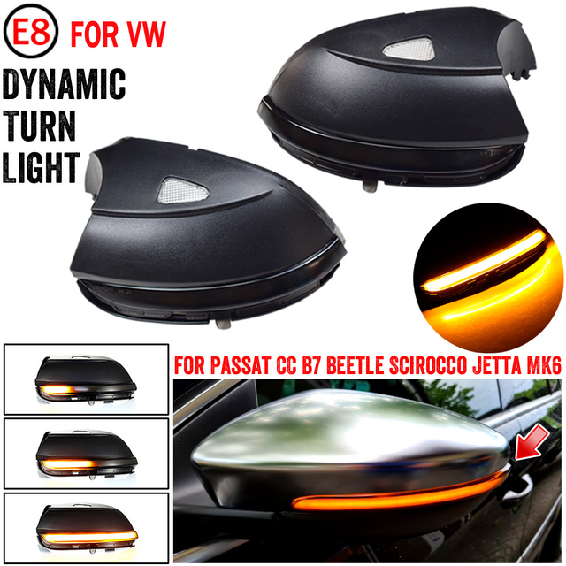 For Volkswagen VW EOS 2011 2015 LED Dynamic Turn Signal Light Side Mirror Blinker Sequential Lamp