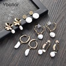 Ybollar 1 Pair Pearl Drop Earrings Original Design Handmade Flower Circle Earrings Baroque For Women Gold Jewelry pair of stylish rhinestone flower asymmetric design earrings for women