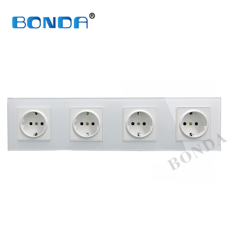BONDA EU standard 16A power socket, crystal tempered glass socket panel, one-piece porous three-layer power socket AC 220-250V