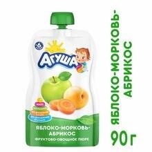 Пюре Агуша яблоко-морковь-абрикос 90г с 6месяцев