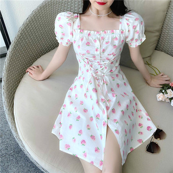 Strawberry Dress Women Elegant Fairy Chiffon Mini Casual Summer Korean Japan Style Kawaii Bandage Party 2020