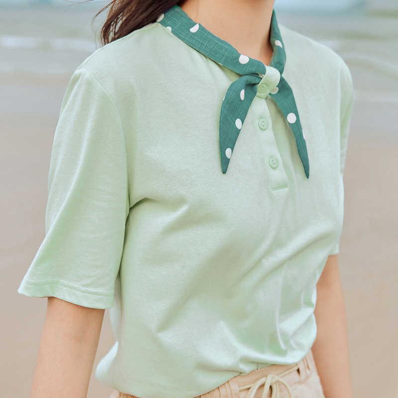 INMAN 빈티지 티셔츠 2020 새로운 도착 루스 스타일 폴카 도트 칼라 Artsy Women Tops