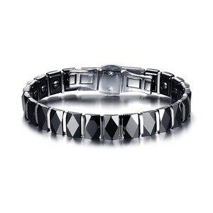 Image 3 - Hommes acier inoxydable 2 tons céramique thérapie Bracelet pour homme femme unisexe à la mode bijoux noir Rose or couleur 19cm