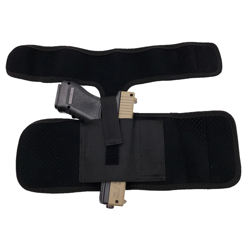 Hot Sale Tactical Padded Concealed Ankle Holster Black Hunting Bag Belt Strap Belt Ankle Leg Gun Holster Pouches image