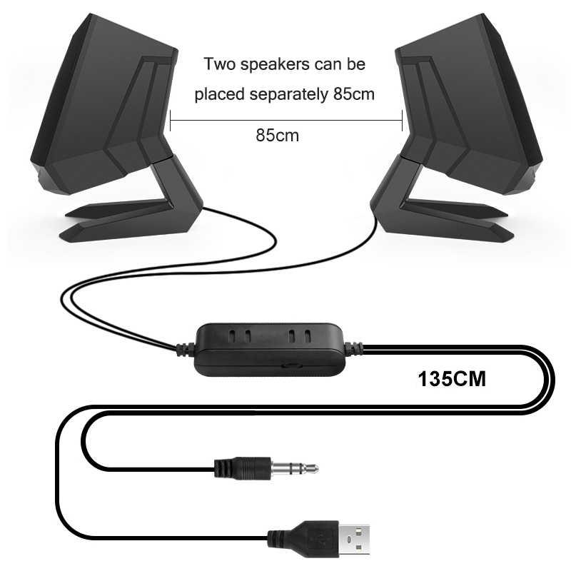 Kabel Speaker Komputer PC Speaker Portabel Stereo Loudspeaker Musik Pemain untuk Laptop Desktop Suara Super Bass Penopang AUX USB