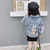 Spring Autumn girls denim jacket baby coat kids outwear children streetwear clothes rainbow color sequin patch 3 to 9 yrs