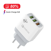 3 Port USB Charger Mobile Phone Fast Charging Wall For iPhone Samsung Xiaomi Huawei EU US UK Adapter
