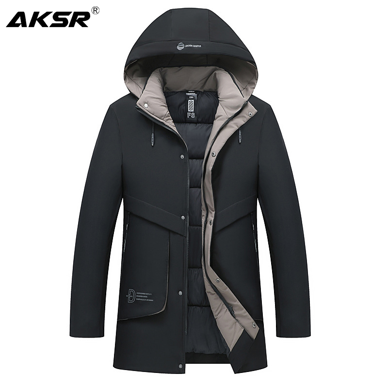 AKSR Men's Winter Jacket Coat Plus Size Thick Warm Hooded Parka Winter Male Jacket Men Long Coat Windbreakers Abrigo Hombre 2019