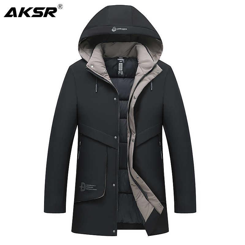 AKSR 男性の冬のジャケットのコートプラスサイズ厚く暖かいフード付きパーカー冬の男性のジャケットメンズロングコートウインドブレーカー Abrigo hombre 2019