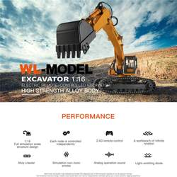 Wltoys 16800 RC Car 1:16 2.4Ghz 8CH RC Excavator Engineering Alloy Crawler RC Vehicle with Lighting Sound RTR Model Toys