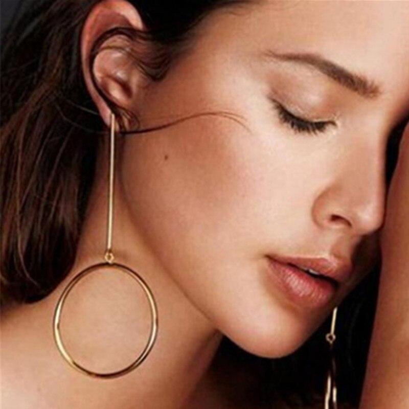 2020 NEW Gold Metal Long Circle Pendant Earings Tassel Earrings for Women  Fashion Jewelry Statement Geometric Voor Vrouwen 4