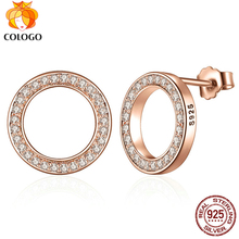 COLOGO 100% Real 925 Sterling Silver Dazzling Zircon Elegance Stud Earrings For Women party Original Jewelry Lucky Gift WS04