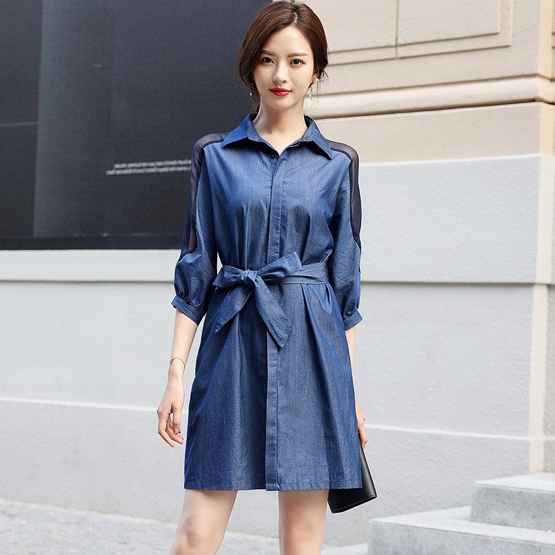 Spring and summer new style Fashion temperament waist strapless cropped sleeve dress New collar denim dress in Dresses from Women 39 s Clothing