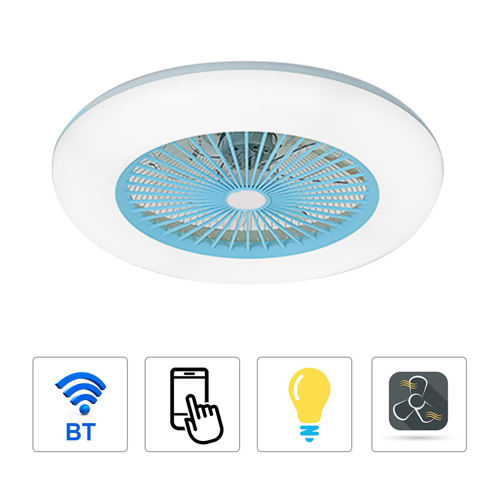 Ventilador de Teto com Iluminação Controle do Telefone Bluetooth para Sala Luz com App Móvel Inteligente Ventilador Suporte Conexão Led Luz