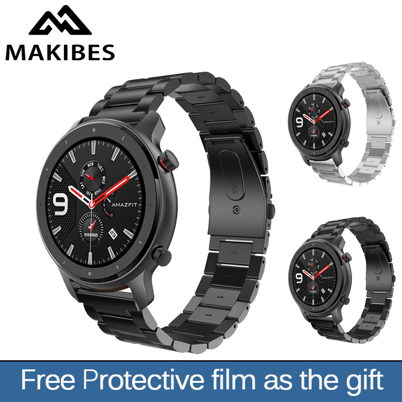 22MM Makibes Replacement Watch Band Steel <font><b>Lite</b></font> Mesh Metal <font><b>strap</b></font> Protective film For Huami <font><b>Amazfit</b></font> GTR Stratos Milanese magnetic image