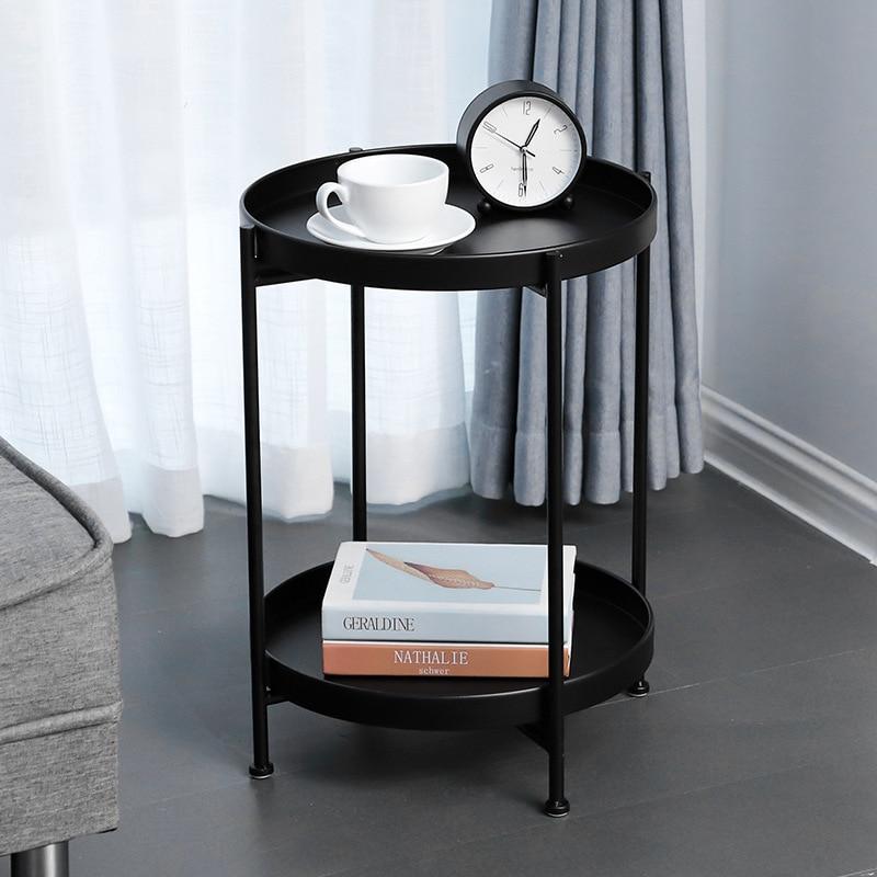 Nordique simple double couche petite table basse salon canapé chambre chevet en fer forgé table ronde stockage rack mx7111618 - 2