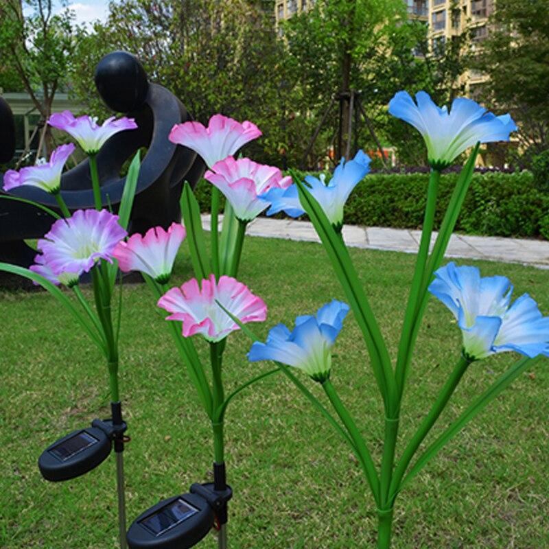 Lâmpadas solares 4 cabeça chifre flor led