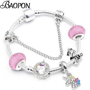 Cartoon Unicorn Beads Charm Bracelets For Women Romantic Silver Color Snake Chain Bracelet Bangle For Kids Brand Jewelry Gift