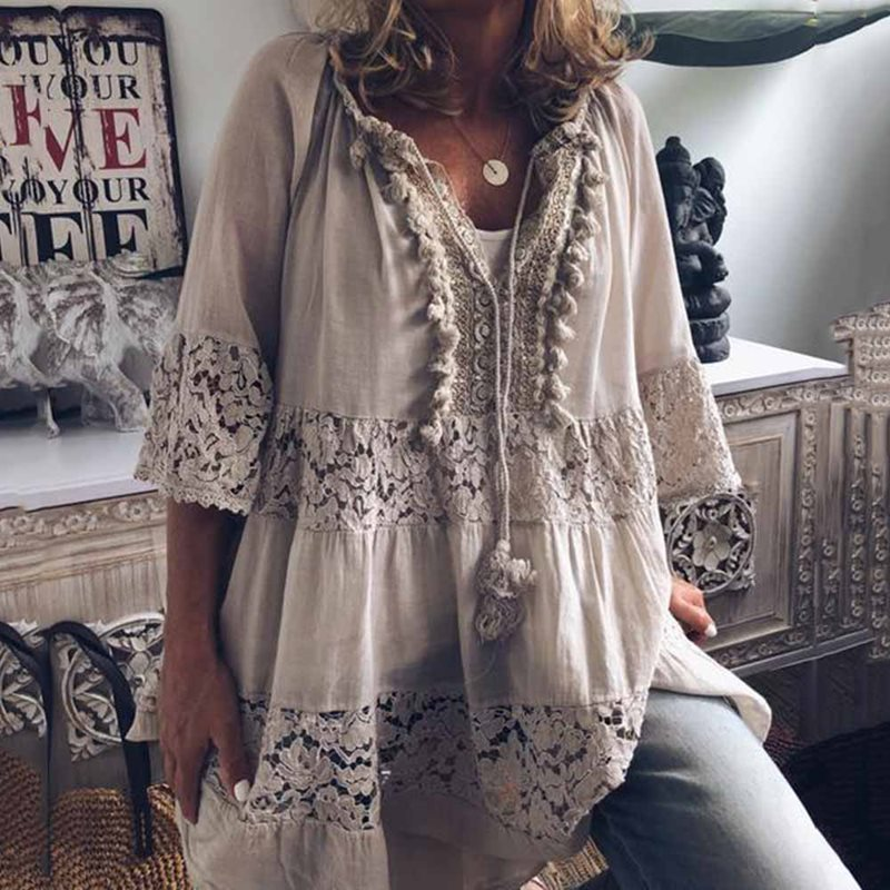 2019 Large Size Lace Hollow Chiffon Loose Blouse Women Fashion New Tops Boho Long Sleeve V-Neck Shirt Female Plus Size 4XL 5XL