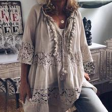 2019 Large Size Lace Hollow Chiffon Loose Blouse Women Fashion New Tops Boho Long Sleeve V-Neck Shirt Female Plus Size 4XL 5XL(China)