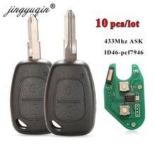 Jingyuqin 10 pçs/lote carro remoto chave terno para renault clio cênica kangoo pcf7946 chip 433 mhz ne72 vac102 lâmina 2 botão fcb chave