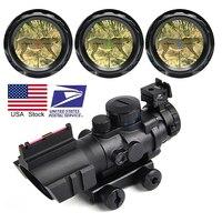 4x32 Rifle táctico alcance rojo o verde o azul iluminado retícula alcance con Vista de fibra óptica