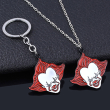 Horror Movie IT Keychain Stephen Kings It Classic Pennywise Smile Figure Metal Keyring For Children Halloween Gifts Jewelry