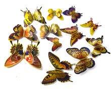 12 pçs/3d dourado dupla camada borboleta ímã geladeira borboleta conjunto adesivo de parede diy artista decoração para casa