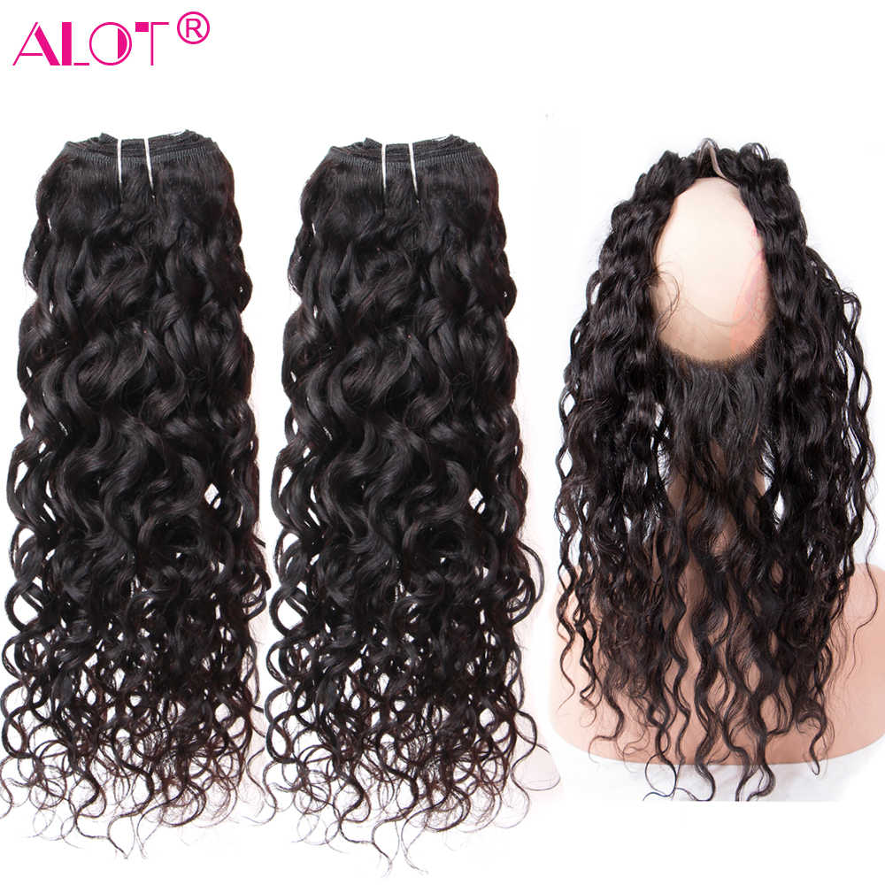 ALot Brazilian Water Wave Human Hair Bundles With 360 Lace Frontal Hair Weaving Non Remy 360 Frontal Closure With Hair Extension