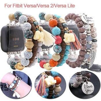 Bohemian Tassle Elephant Natural Beads Watchbands For Fitbit Versa/Versa 2/Versa Lite Smart Watch Handmade Watch Strap Wristband