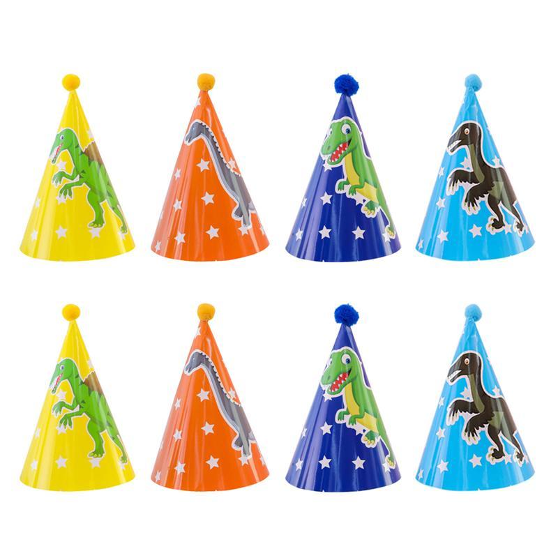 Букет невесты 6 штук в партии, 8 шт. на день рождения шляпа с принтом динозавр Бумага с головным убором Детские День рождения Кепки конус помп...