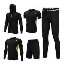 5PCS Set degli uomini di Compressione PALESTRA Calzamaglie Abbigliamento Sportivo sport Si Adatta Alle Vestiti di Formazione Allenamento Jogging Abbigliamento Tuta Sportiva