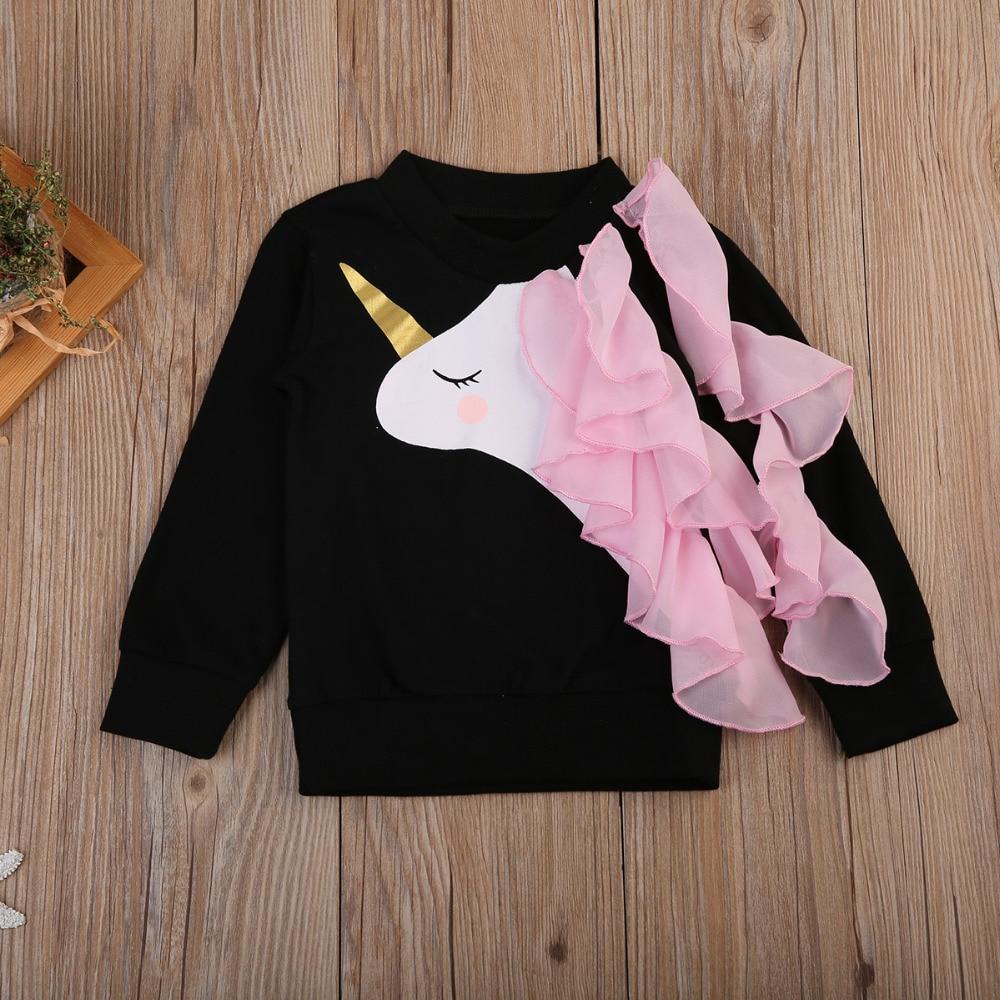 2020 Autumn Winter Kids Hoodies Baby Girls Unicorn Printed Sweatshirt Children Long Sleeve Cotton Tops Clothes 0-7 Years 2