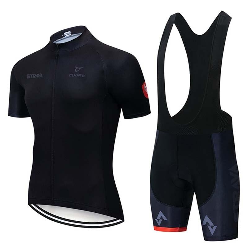 New 2019 STRAVA Pro team Cycling Short Sleeves jersey bib shorts sets summer mens Quick dry Sports clothing K080601
