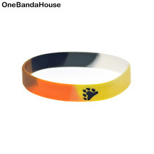 OBH 50PCS Segmented Color Debossed Bear Paw Gay Pride Silicone Rubber Wristband