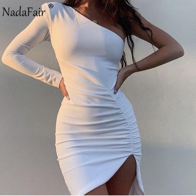 Nadafair, на одно плечо, Клубная одежда, для вечерние, сексуальное, облегающее платье, женское, Драпированное, с длинным рукавом, мини, черное, бел...
