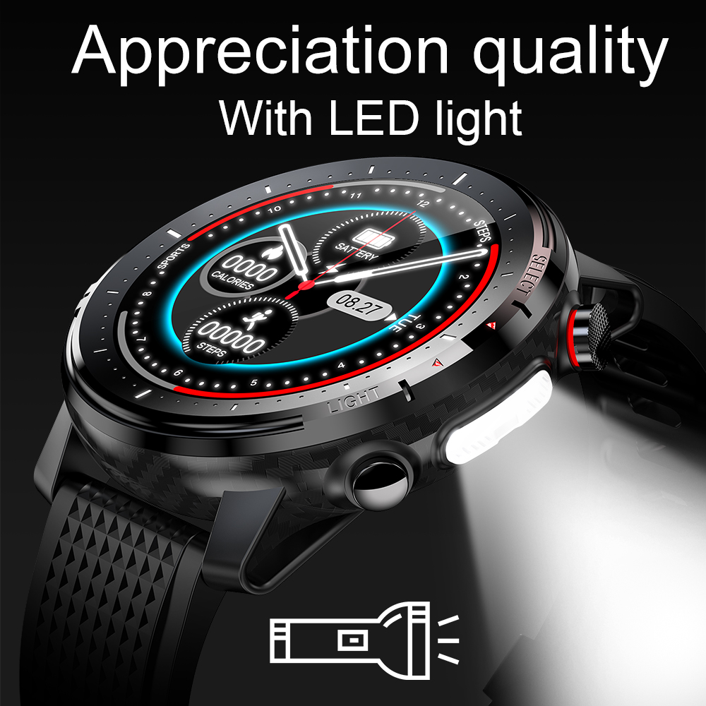 LED light sport Smart Watch full Round HD IPS Screen Heart Rate Monitor IP68 Waterproof Smartwatch with weather report DIY dials
