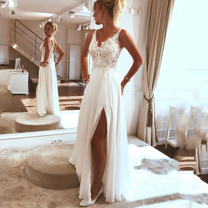 LORIE Beach Wedding Dress 2019 Side Split Top Lace Boho Bride Dress Sexy Appliques Wedding Gown Custom Made Vestidos De Novia