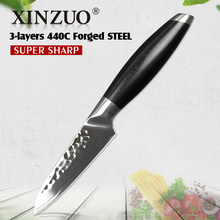 XINZUO 3.5'' inch Paring Knife 3 layer 440C Clad Steel Kitchen Knives Stainless Utility Universal Knife Cutlery with G10 Handle(China)