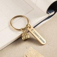 Messing Handgemachte Anti verlust Karte Schlüssel Kette Anhänger Auto Männer frauen Paare Keychain Ring Schriftzug Telefon-in Schlüsseletui für Auto aus Kraftfahrzeuge und Motorräder bei
