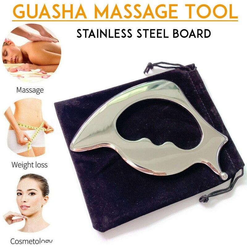 Edelstahl Gua Sha Guasha Massager Werkzeug Schaber Physikalische Therapie Lose Muscle Meridian Massage Maschine SPA Bord Werkzeug