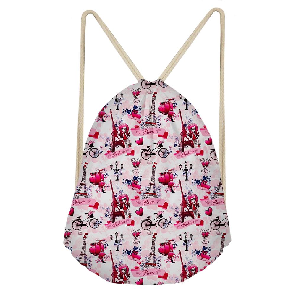 THIKIN Paris Eiffel Tower With Pink Girls Print Drawstring Bag Fashion Personalized Shoulder Bags Custom Pouch For Boy Girls