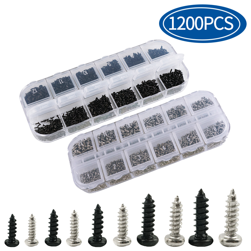 Micro Glasses Screws Round Head Self-tapping Electronic Small Wood Screws Nails Kit Pc Screw Set 1200Pcs/set M1 M1.2 M1.4 M1.7