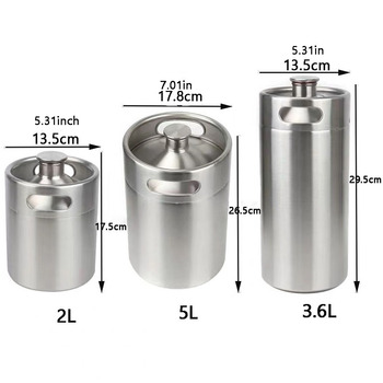 10/5/3.6/2L Mini Beer Keg Stainless Steel Pressurized Growler for Craft Beer Dispenser System Home Brew Brewing
